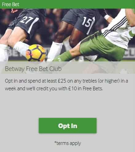Betway Sports Betting Trebles Bets - Free Bets Bonus