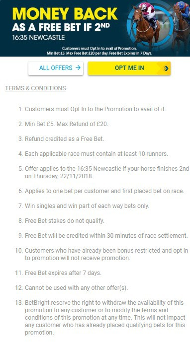 BetBright Horse Racing Money Back Promo
