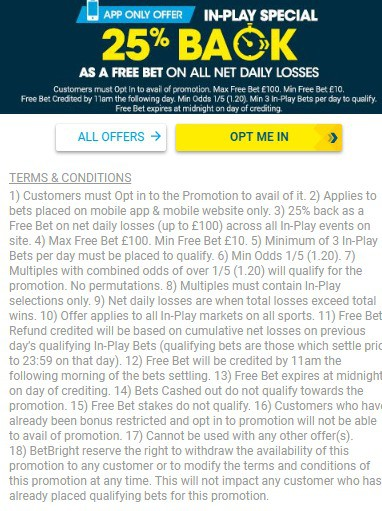 BetBright Sports App Promotion 25 Back