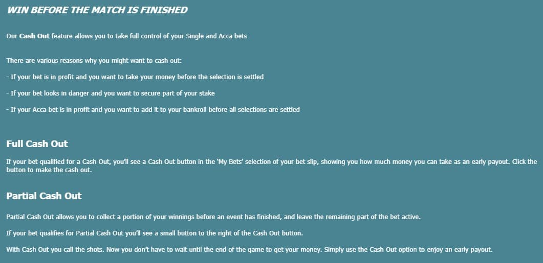 Karamba Cash Out for betting terms and conditions