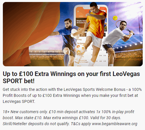 LeoVegas £100 welcome offer for sports bettin users