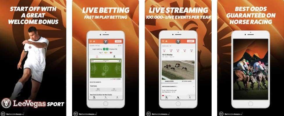 LeoVegas Sports Betting Mobile app Screenshots as Seen on iTunes