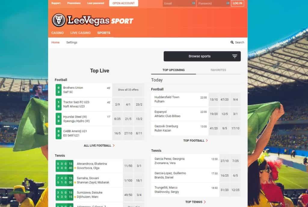 LeoVegas Sports Betting Section HomePage Layout