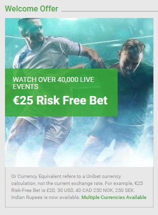 Unibet Sports 25 euro risk free bet