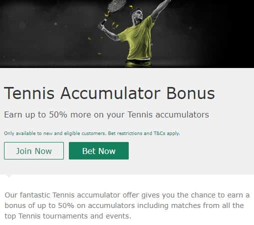 bet365 Teniis Promotion - 50% Acca Bonus on Tennis Bets