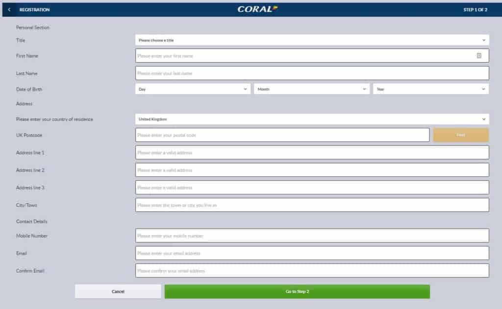 Coral Betting Account Needed Details and Process