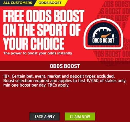 Ladbrokes Sports Free Odds Boost for Avaliable Sports Types