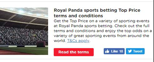 Royal Panda Sports Betting Top Price Promotion