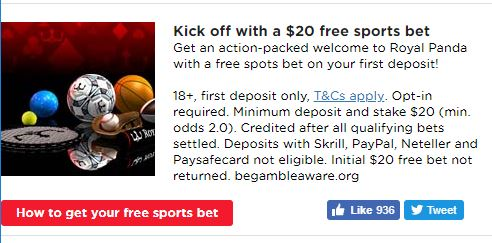 Royal Panda Sports Betting Welcome Offer