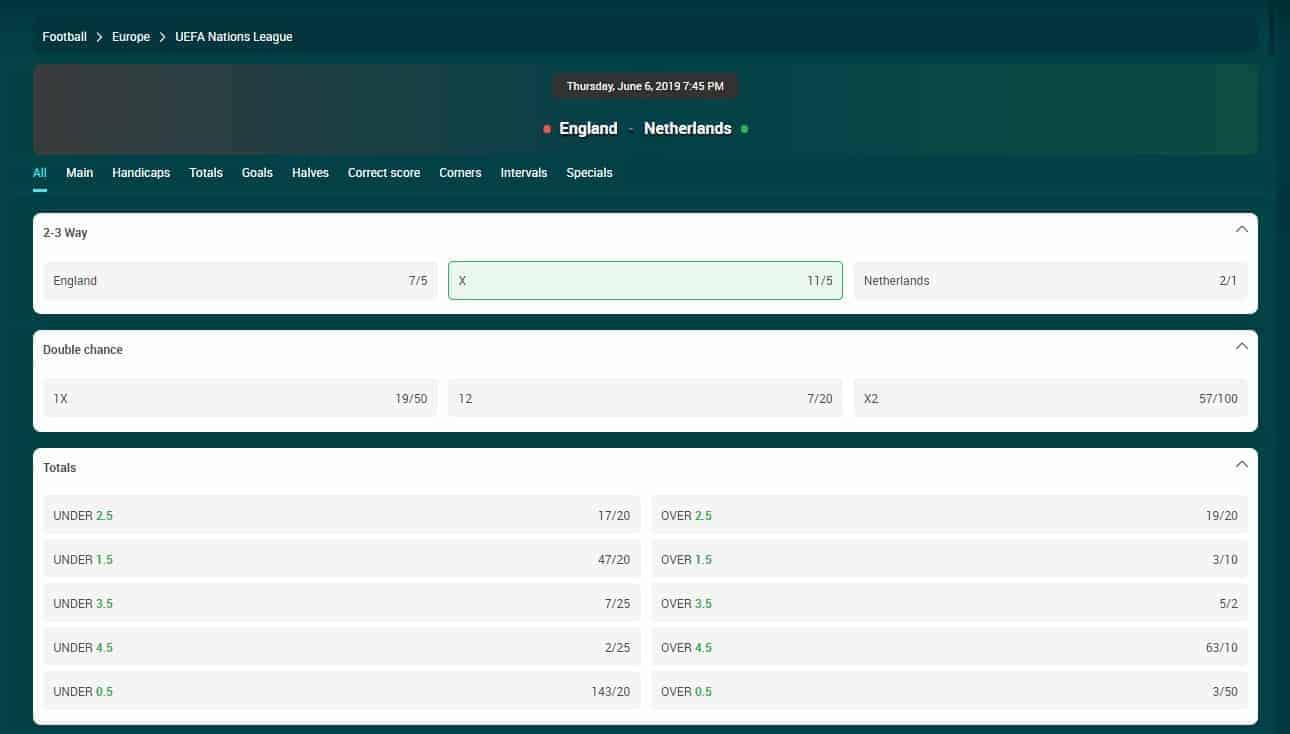 22Bet England VS Netherlands Betting Odds