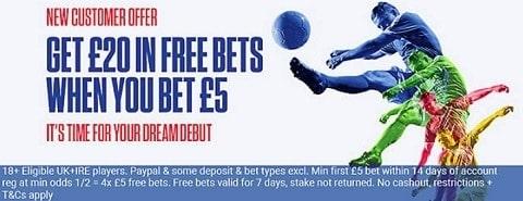 Coral Bet £5 get £20 - Sign up offer
