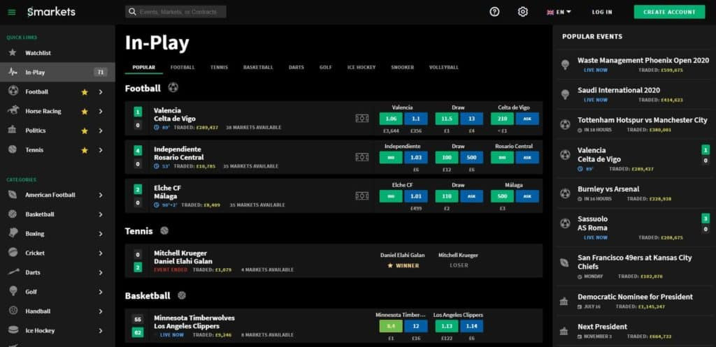 Smarkets In Play Betting