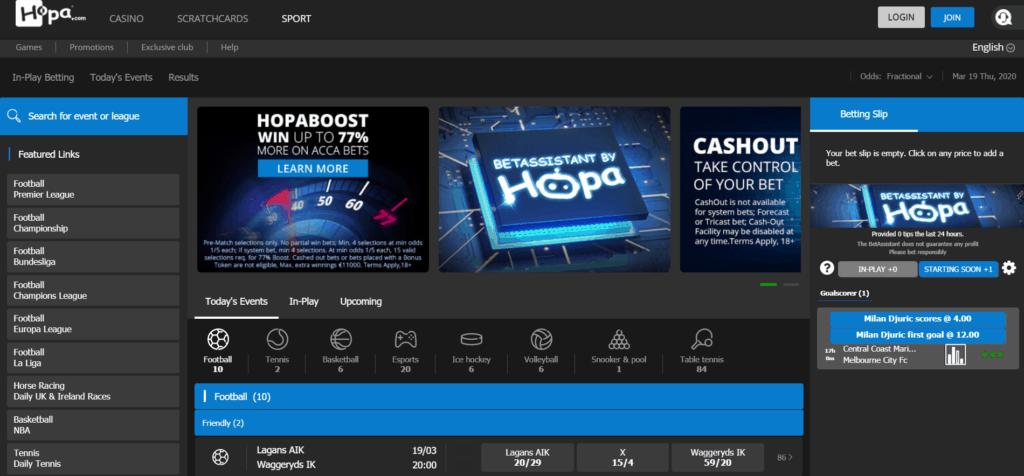 Hopa Betting Site Homepage